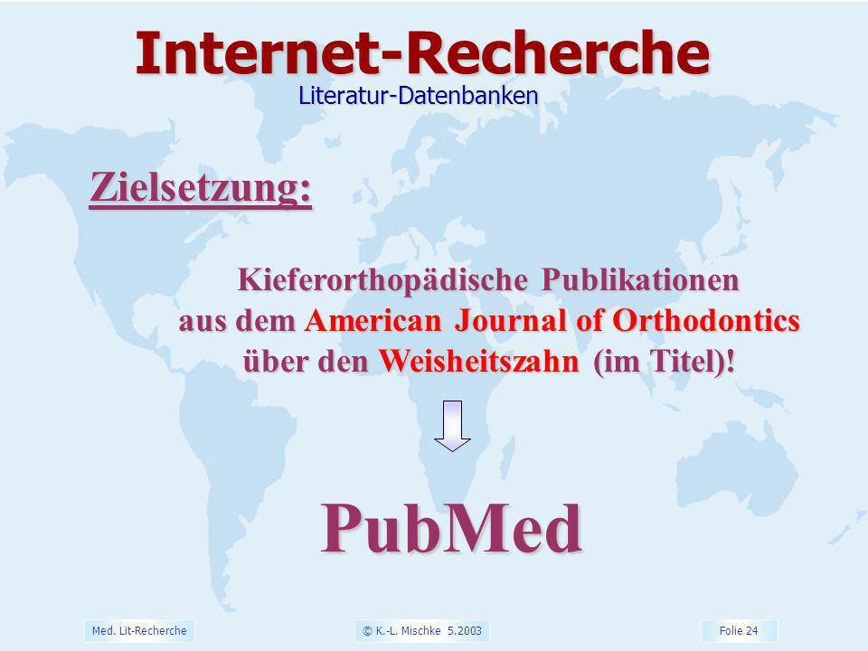 PubMed Internet-Recherche Zielsetzung: