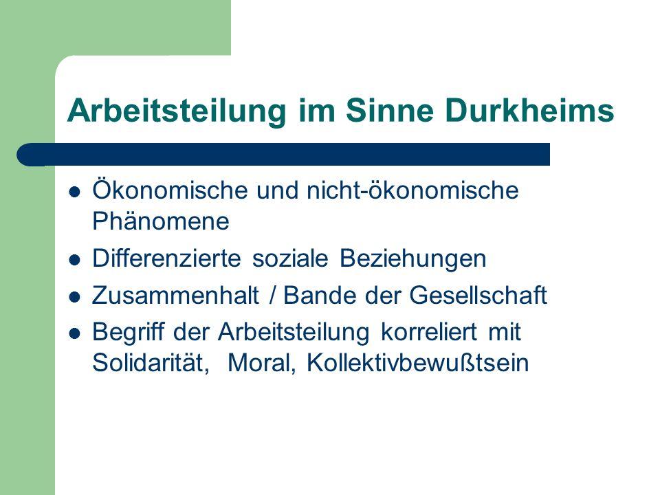 Arbeitsteilung im Sinne Durkheims