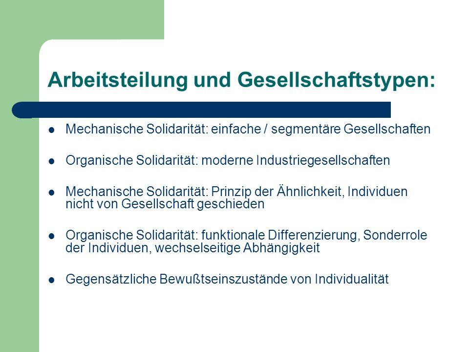 Arbeitsteilung und Gesellschaftstypen: