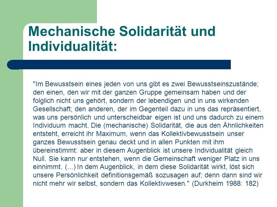 Mechanische Solidarität und Individualität: