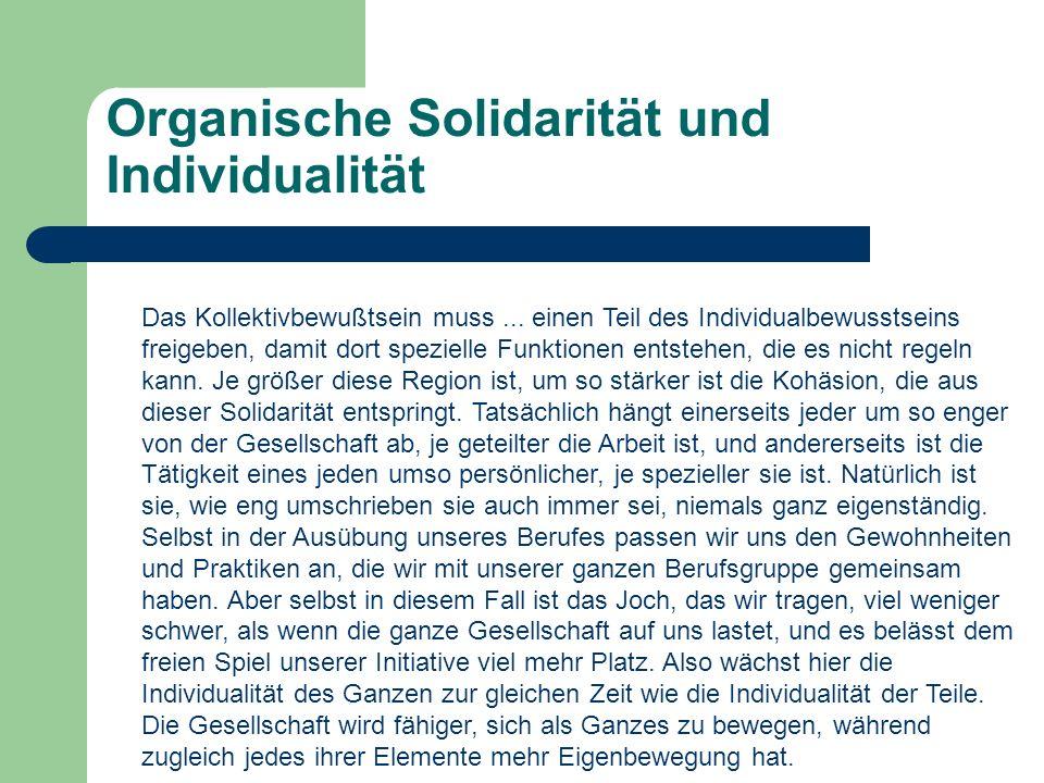 Organische Solidarität und Individualität