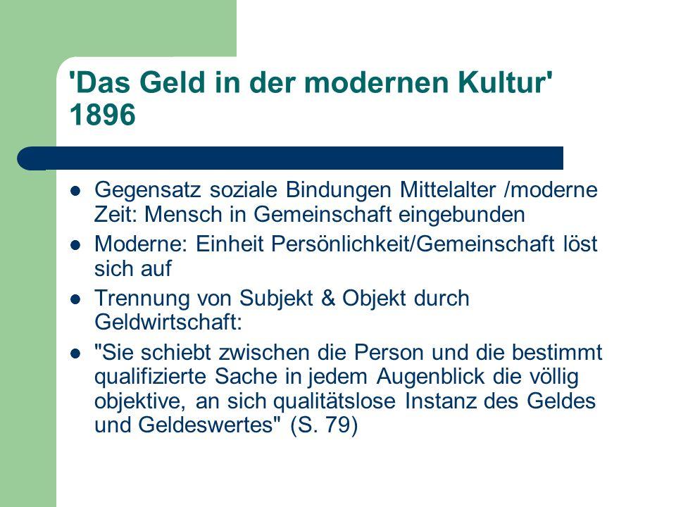 Das Geld in der modernen Kultur 1896