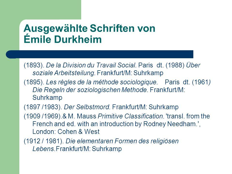Ausgewählte Schriften von Émile Durkheim