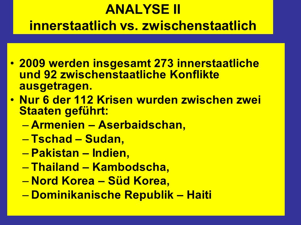 ANALYSE II innerstaatlich vs. zwischenstaatlich