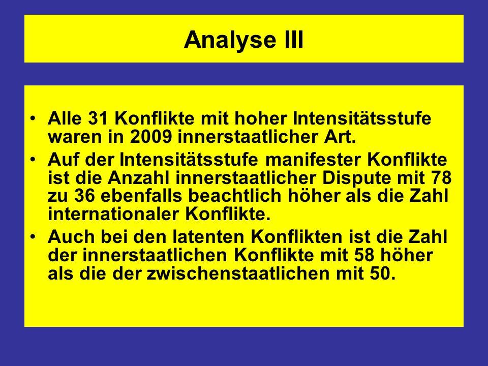Analyse IIIAlle 31 Konflikte mit hoher Intensitätsstufe waren in 2009 innerstaatlicher Art.