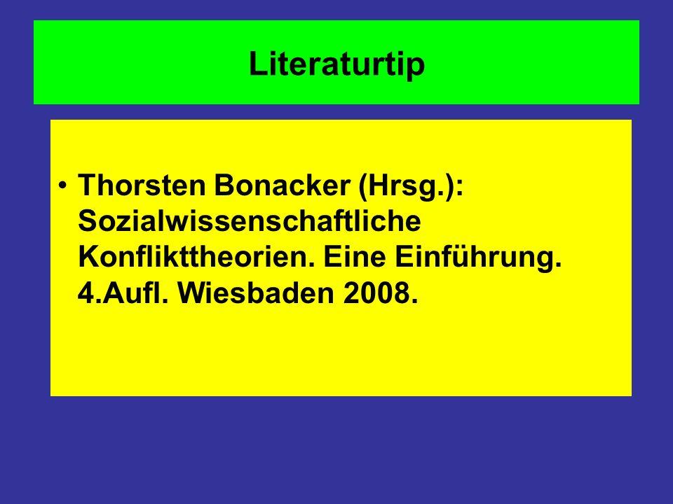 Literaturtip Thorsten Bonacker (Hrsg.): Sozialwissenschaftliche Konflikttheorien.
