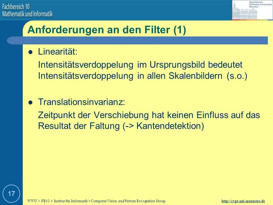 Anforderungen an den Filter (1)