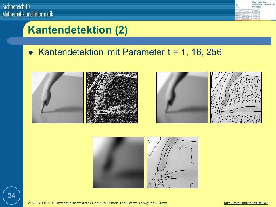 Kantendetektion (2) Kantendetektion mit Parameter t = 1, 16, 256 24