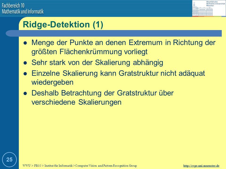 Ridge-Detektion (1) Menge der Punkte an denen Extremum in Richtung der größten Flächenkrümmung vorliegt.