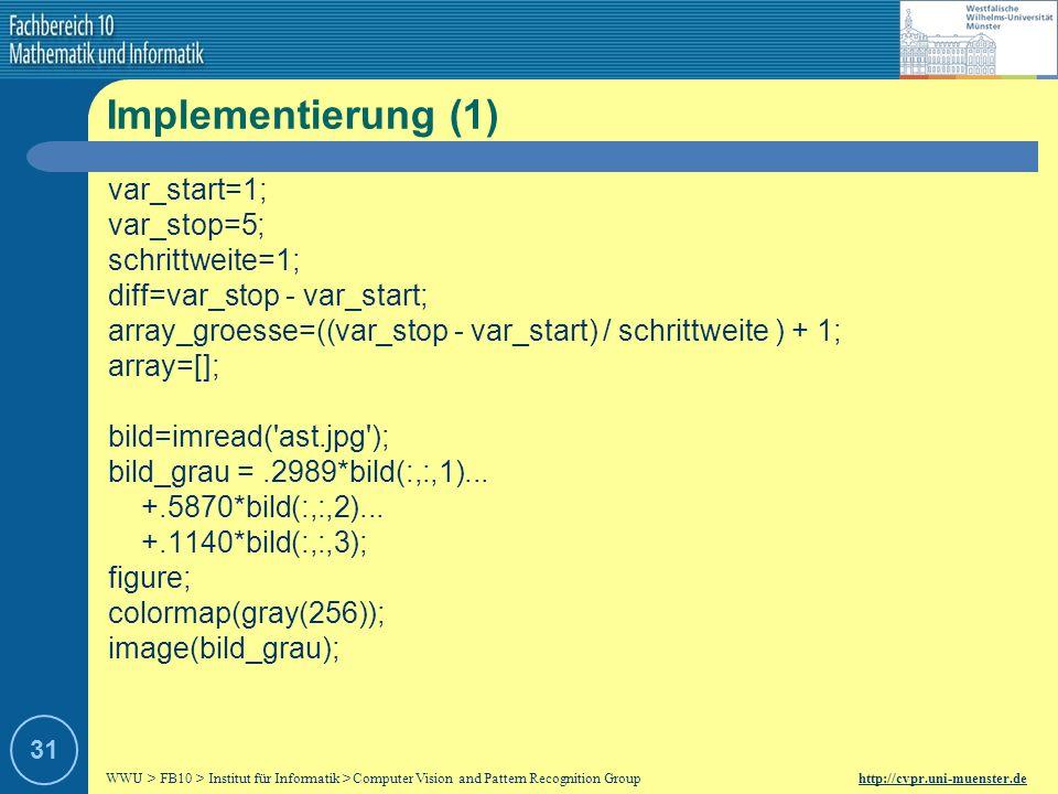 Implementierung (1) var_start=1; var_stop=5; schrittweite=1;