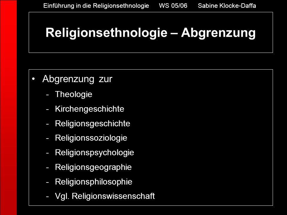 Religionsethnologie – Abgrenzung