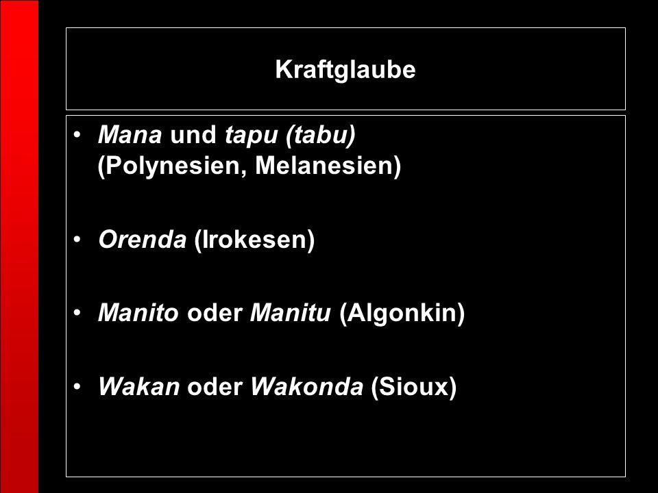 KraftglaubeMana und tapu (tabu) (Polynesien, Melanesien) Orenda (Irokesen) Manito oder Manitu (Algonkin)