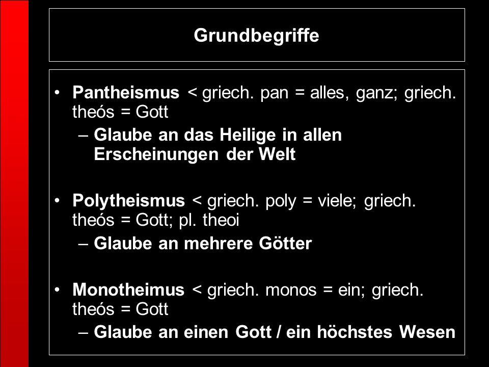Grundbegriffe Pantheismus < griech. pan = alles, ganz; griech. theós = Gott. Glaube an das Heilige in allen Erscheinungen der Welt.