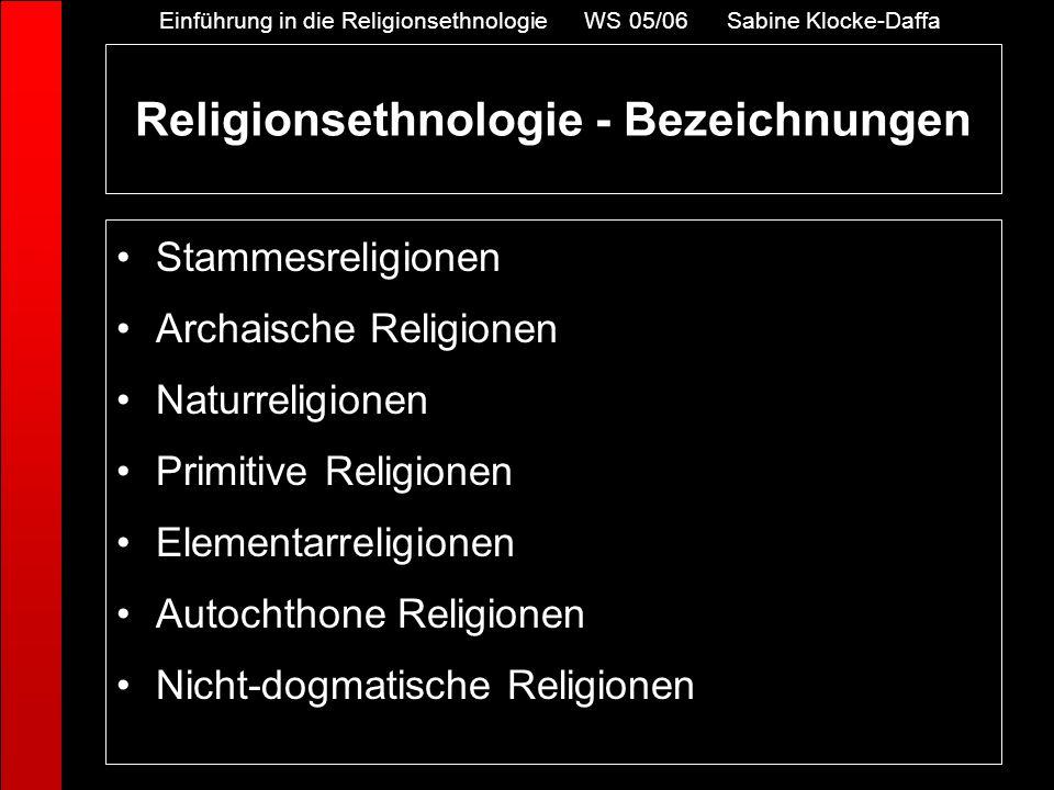 Religionsethnologie - Bezeichnungen