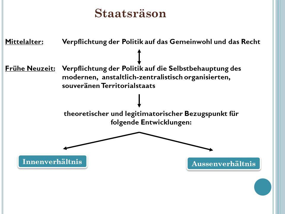 StaatsräsonMittelalter: Verpflichtung der Politik auf das Gemeinwohl und das Recht.