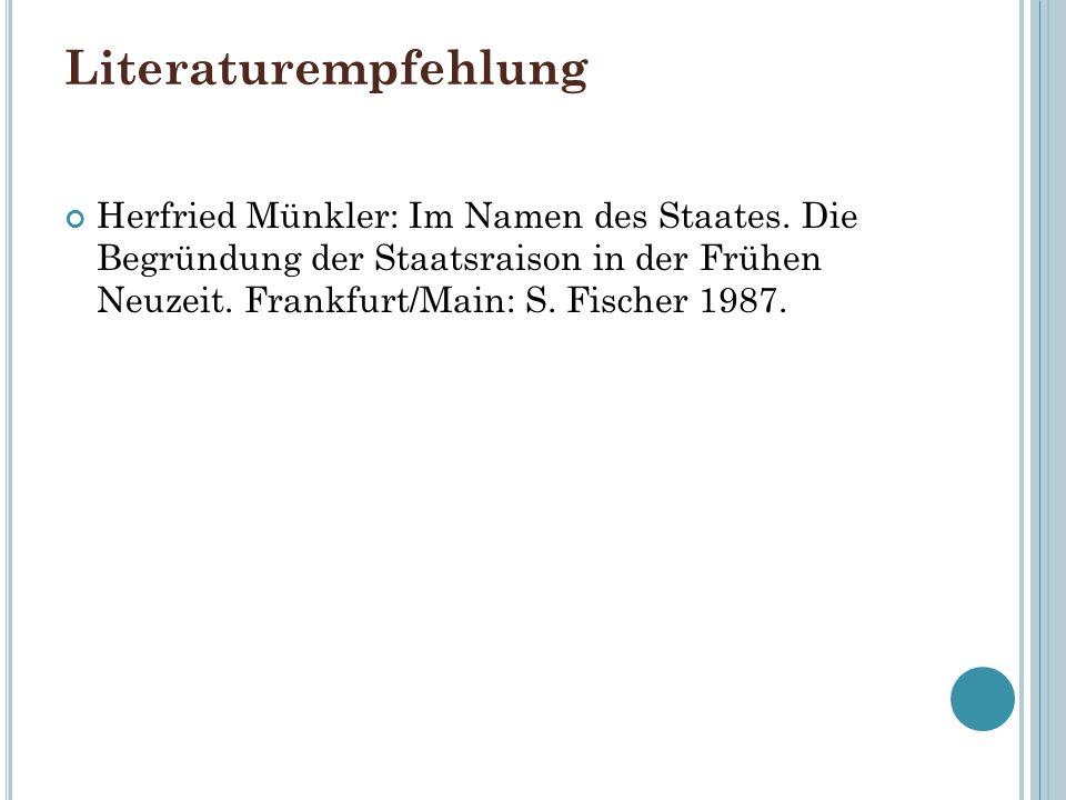 Literaturempfehlung Herfried Münkler: Im Namen des Staates.