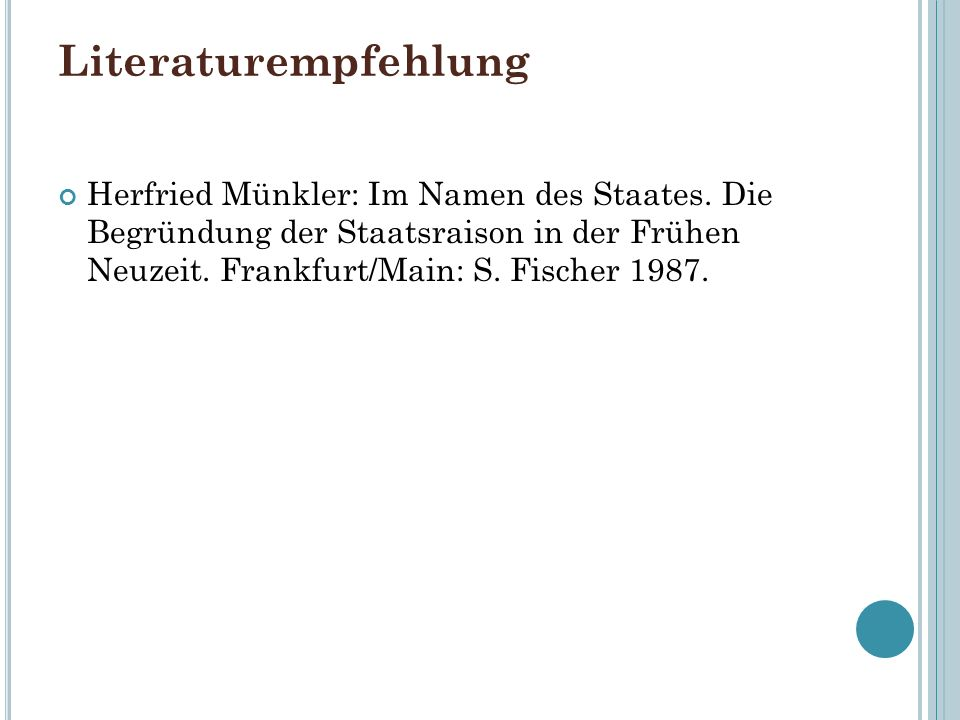 LiteraturempfehlungHerfried Münkler: Im Namen des Staates.