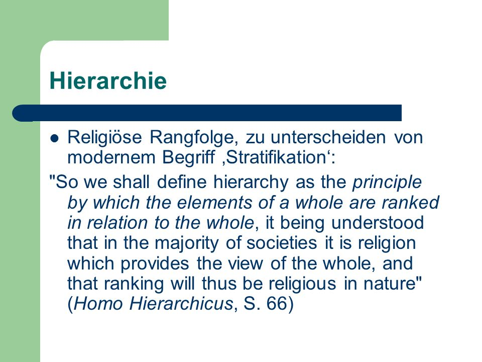 HierarchieReligiöse Rangfolge, zu unterscheiden von modernem Begriff 'Stratifikation':