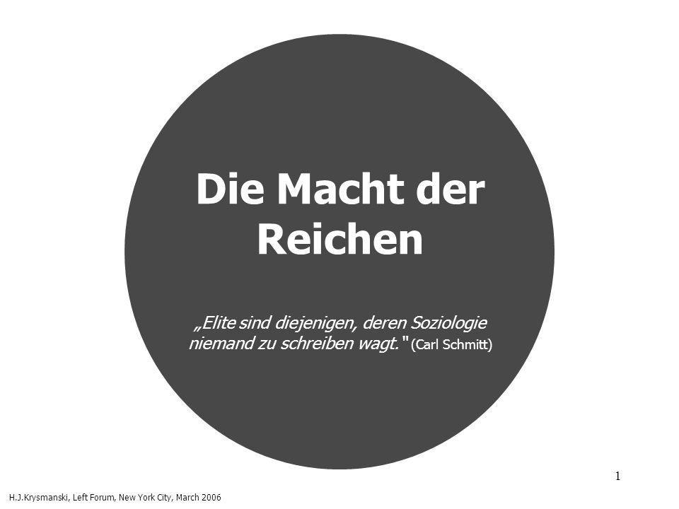 """Die Macht der Reichen """"Elite sind diejenigen, deren Soziologie niemand zu schreiben wagt. (Carl Schmitt)"""