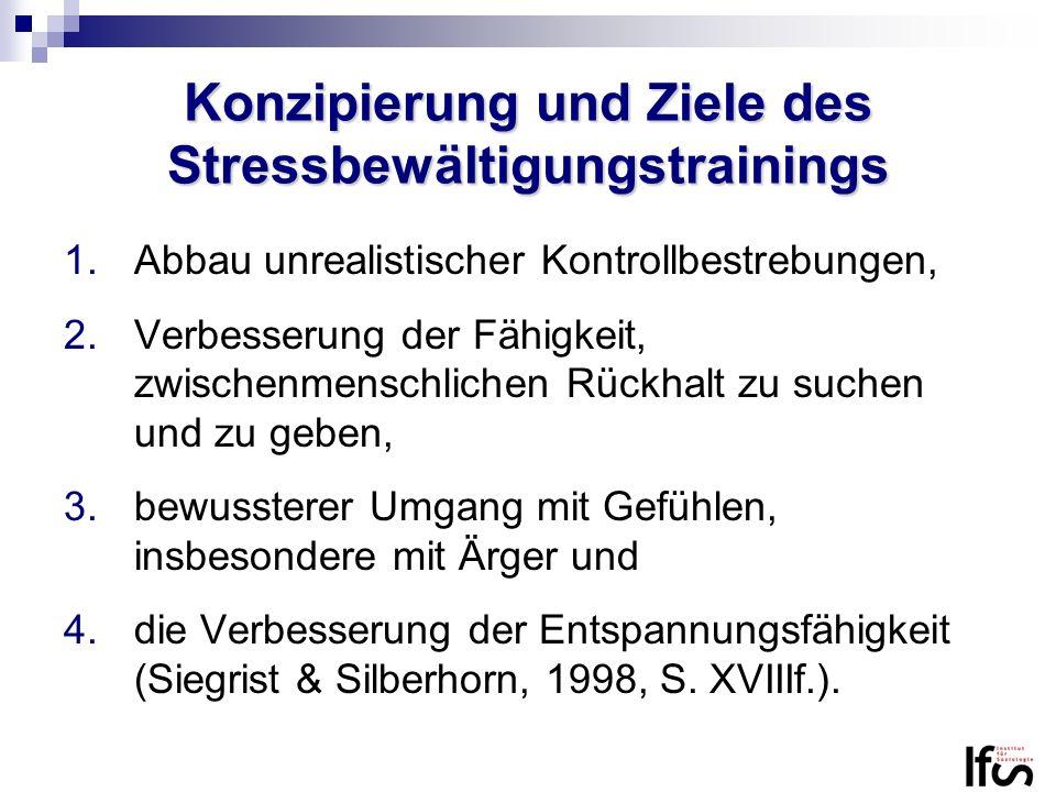 Konzipierung und Ziele des Stressbewältigungstrainings