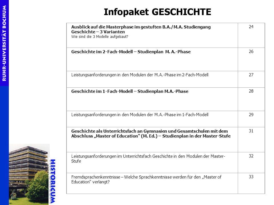 Infopaket GESCHICHTE Ausblick auf die Masterphase im gestuften B.A./M.A. Studiengang Geschichte – 3 Varianten.