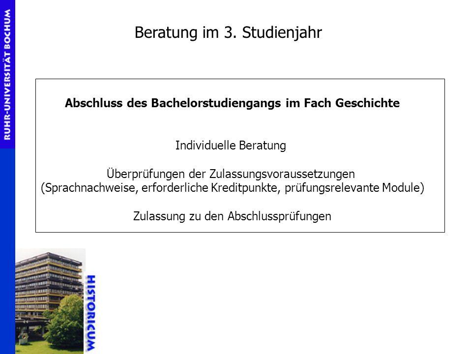 Abschluss des Bachelorstudiengangs im Fach Geschichte