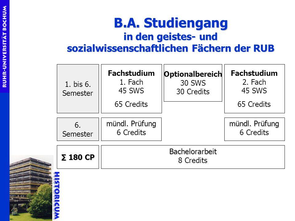 B.A. Studiengang in den geistes- und sozialwissenschaftlichen Fächern der RUB