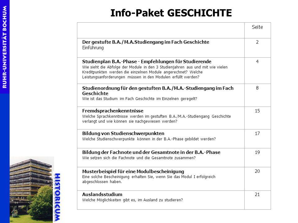 Info-Paket GESCHICHTE