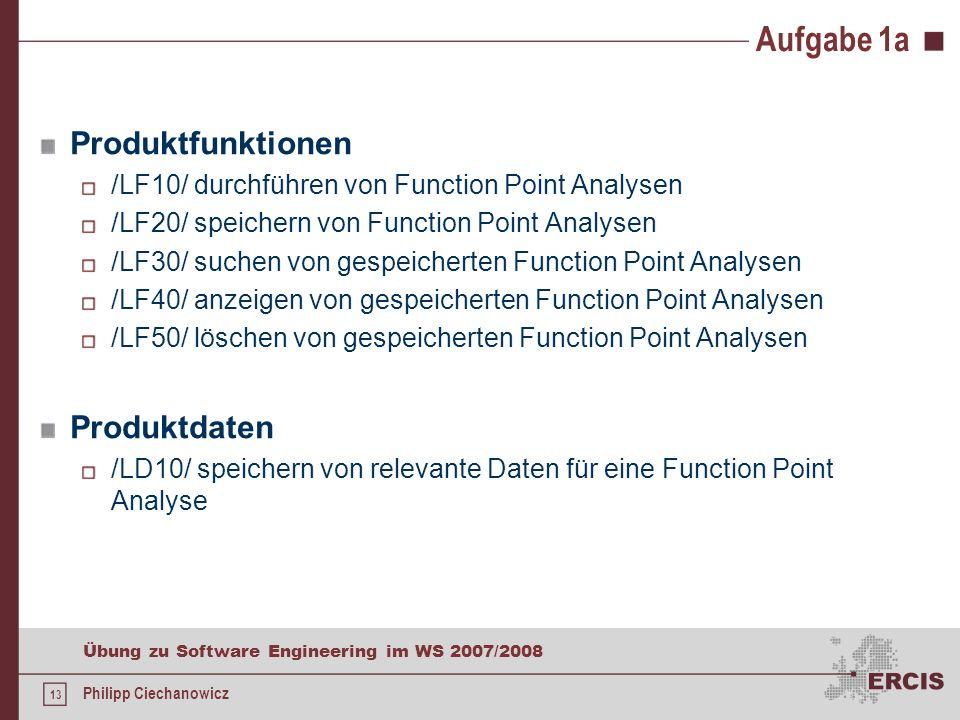 Aufgabe 1a Produktfunktionen Produktdaten