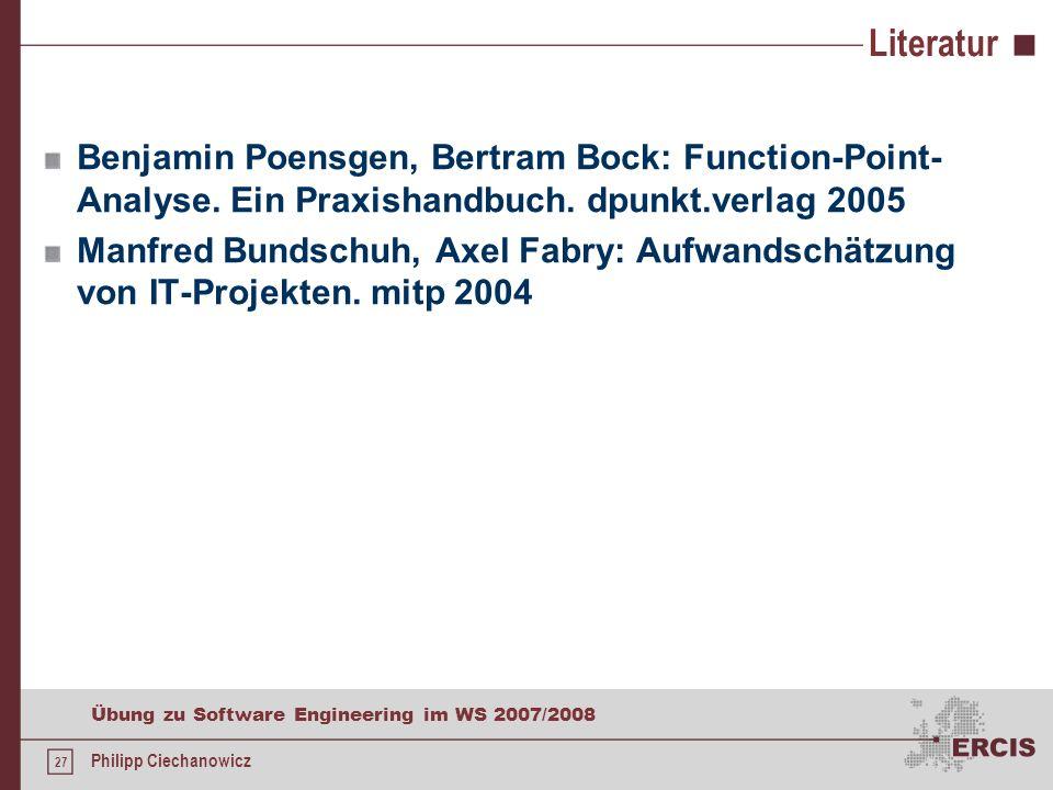Literatur Benjamin Poensgen, Bertram Bock: Function-Point-Analyse. Ein Praxishandbuch. dpunkt.verlag 2005.