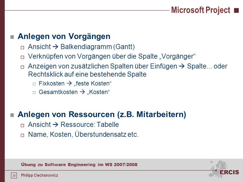 Microsoft Project Anlegen von Vorgängen