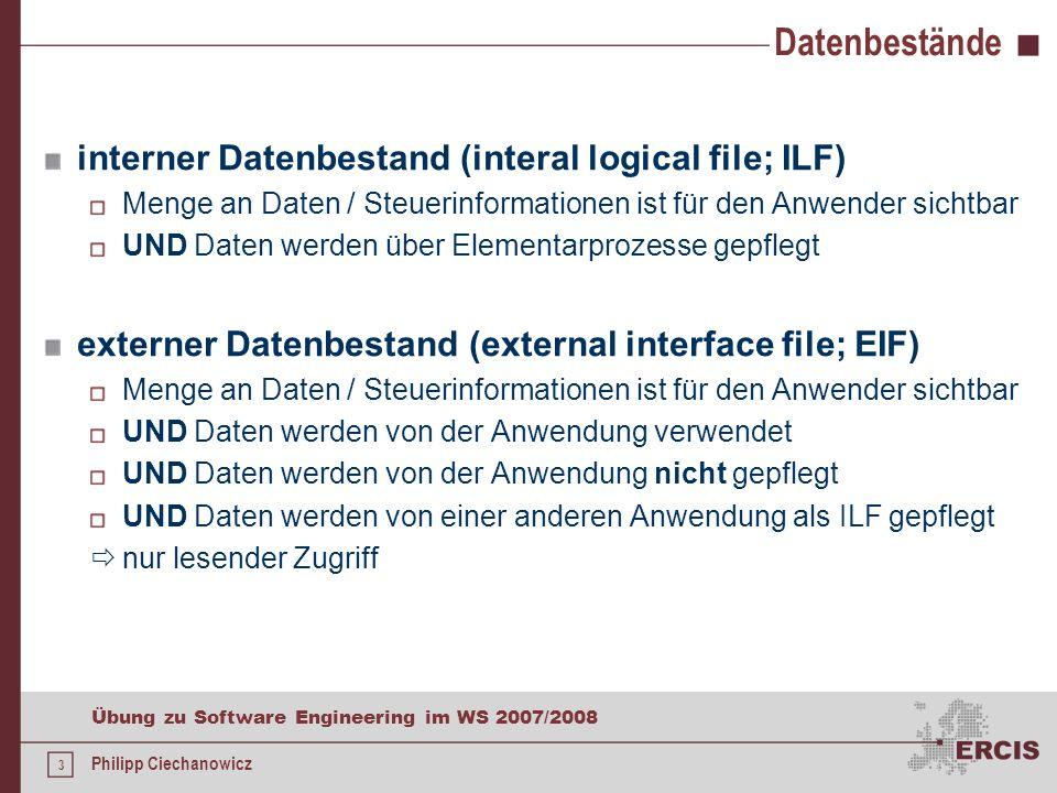 Datenbestände interner Datenbestand (interal logical file; ILF)