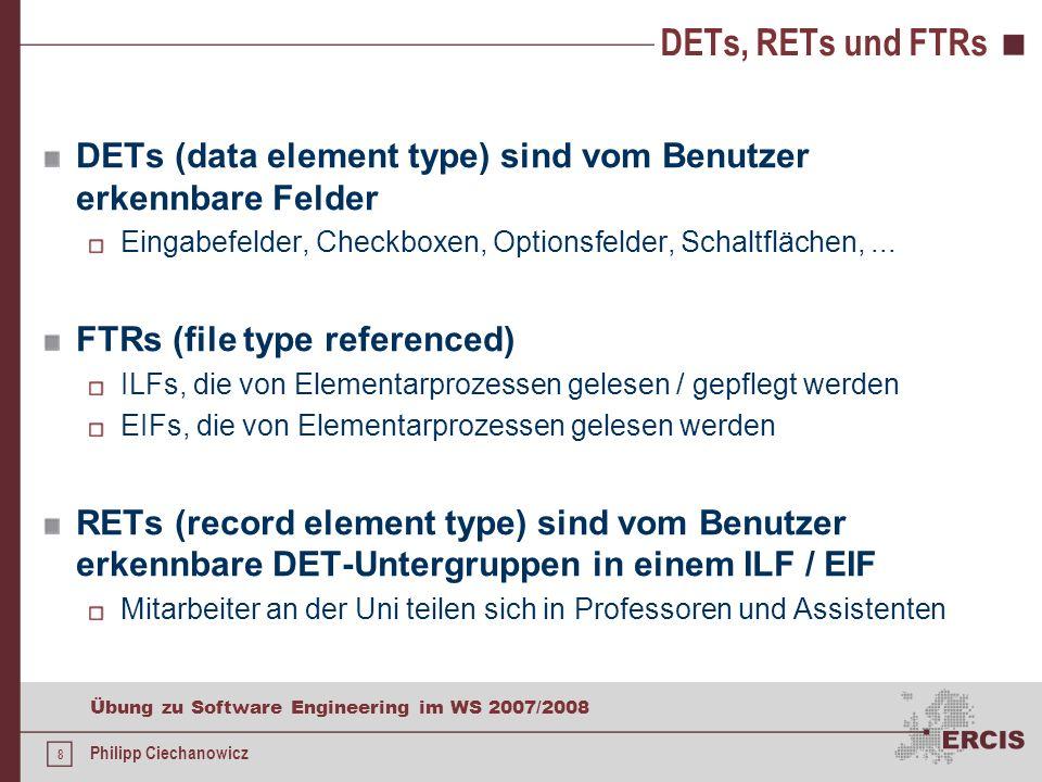 DETs, RETs und FTRs DETs (data element type) sind vom Benutzer erkennbare Felder. Eingabefelder, Checkboxen, Optionsfelder, Schaltflächen, ...