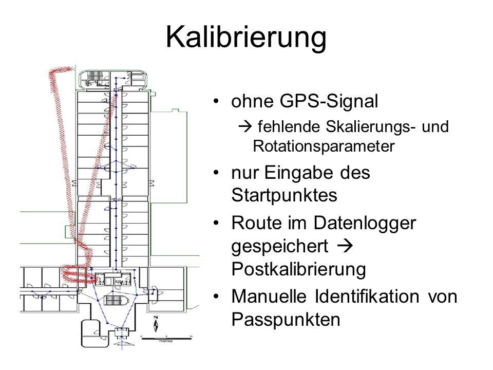 Kalibrierung ohne GPS-Signal nur Eingabe des Startpunktes