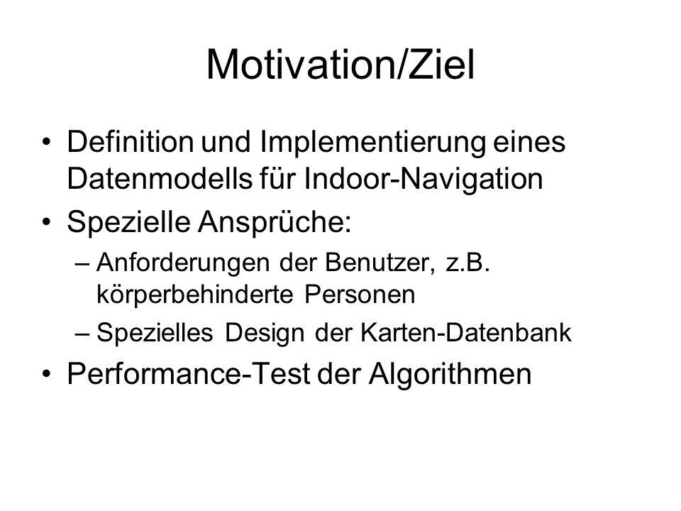 Motivation/Ziel Definition und Implementierung eines Datenmodells für Indoor-Navigation. Spezielle Ansprüche: