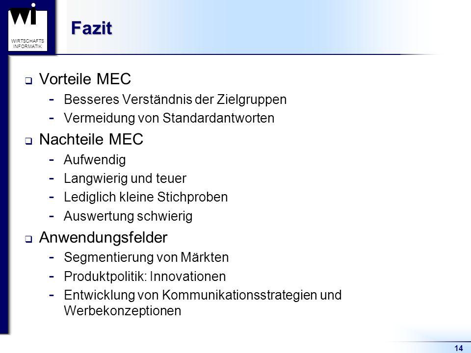 Fazit Vorteile MEC Nachteile MEC Anwendungsfelder