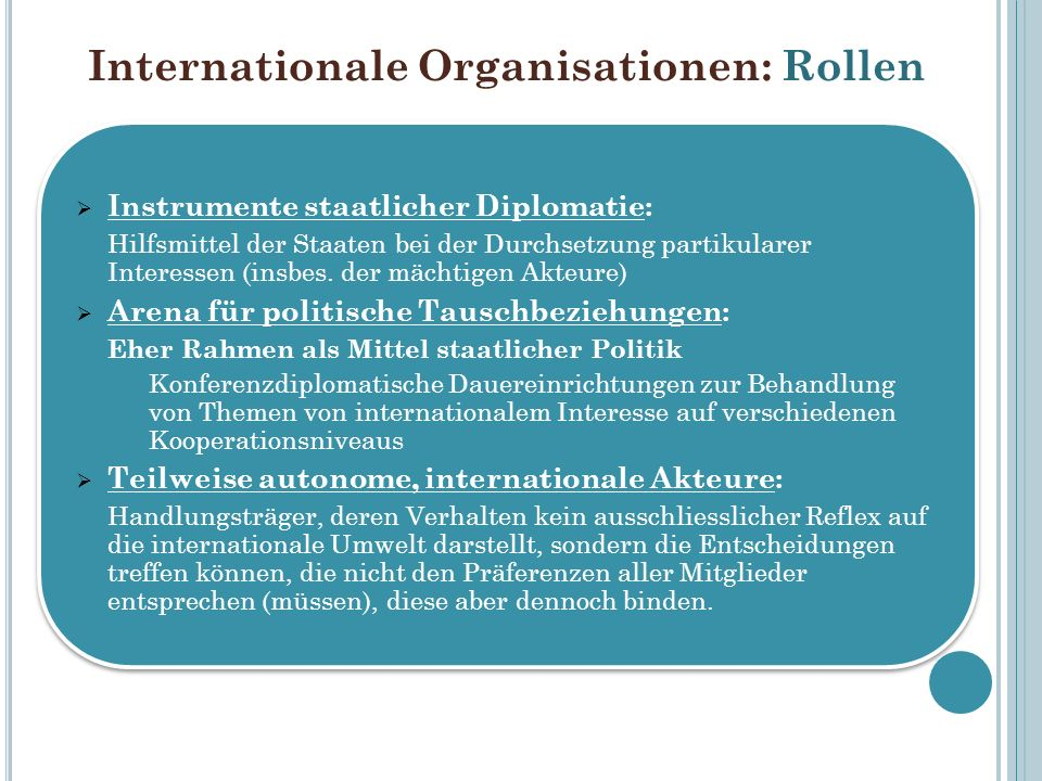 Internationale Organisationen: Rollen