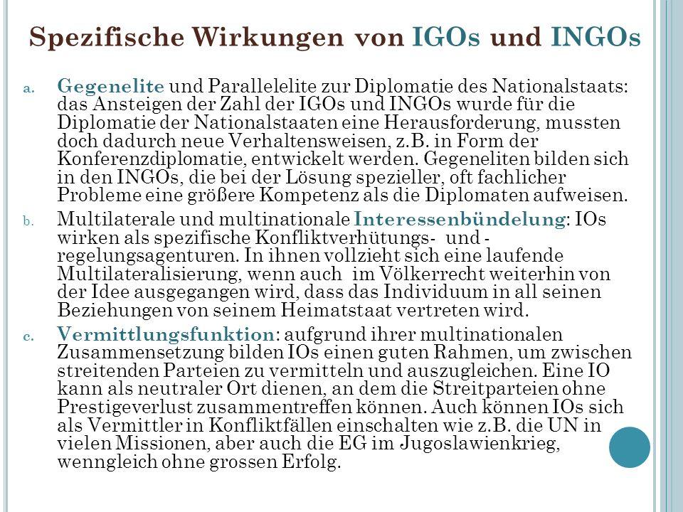 Spezifische Wirkungen von IGOs und INGOs