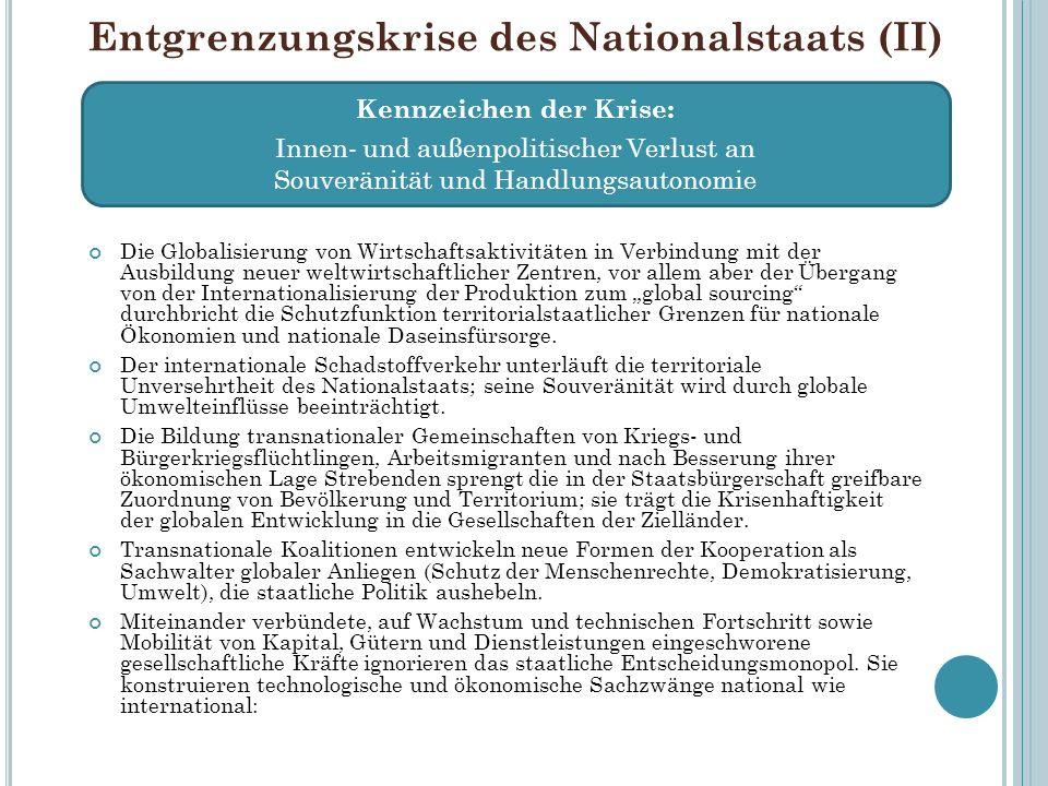 Entgrenzungskrise des Nationalstaats (II) Kennzeichen der Krise: