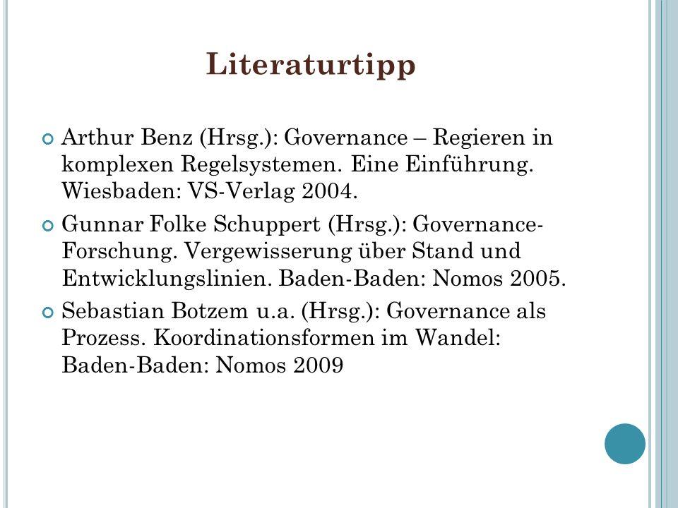 Literaturtipp Arthur Benz (Hrsg.): Governance – Regieren in komplexen Regelsystemen. Eine Einführung. Wiesbaden: VS-Verlag 2004.