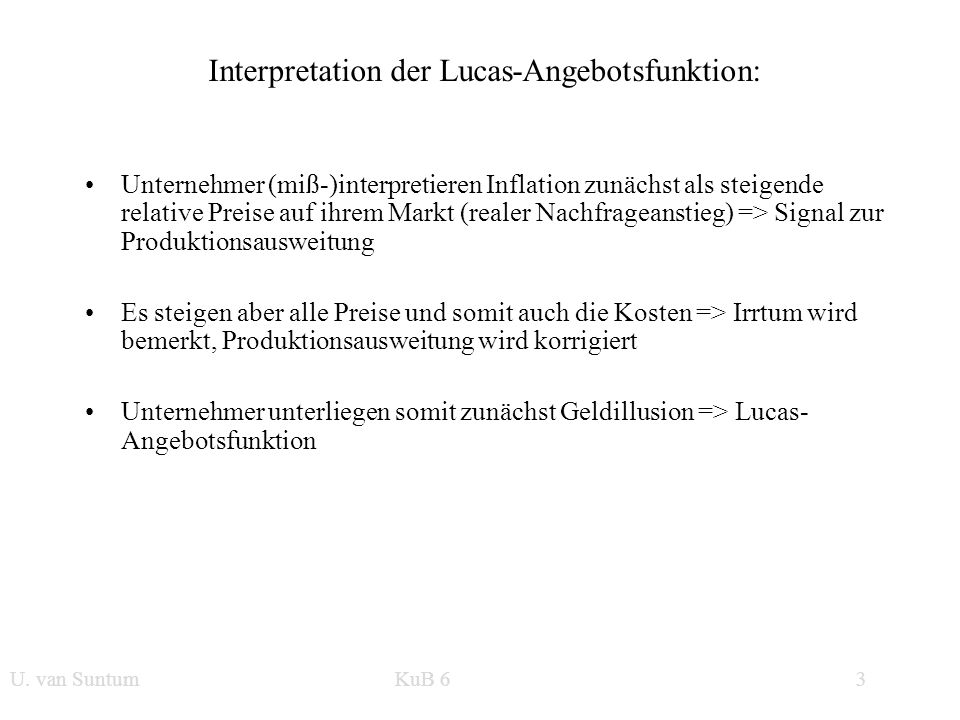 Interpretation der Lucas-Angebotsfunktion: