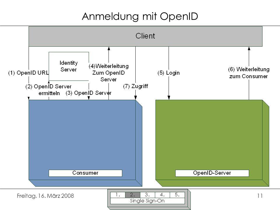 Anmeldung mit OpenID Freitag, 16. März 2008