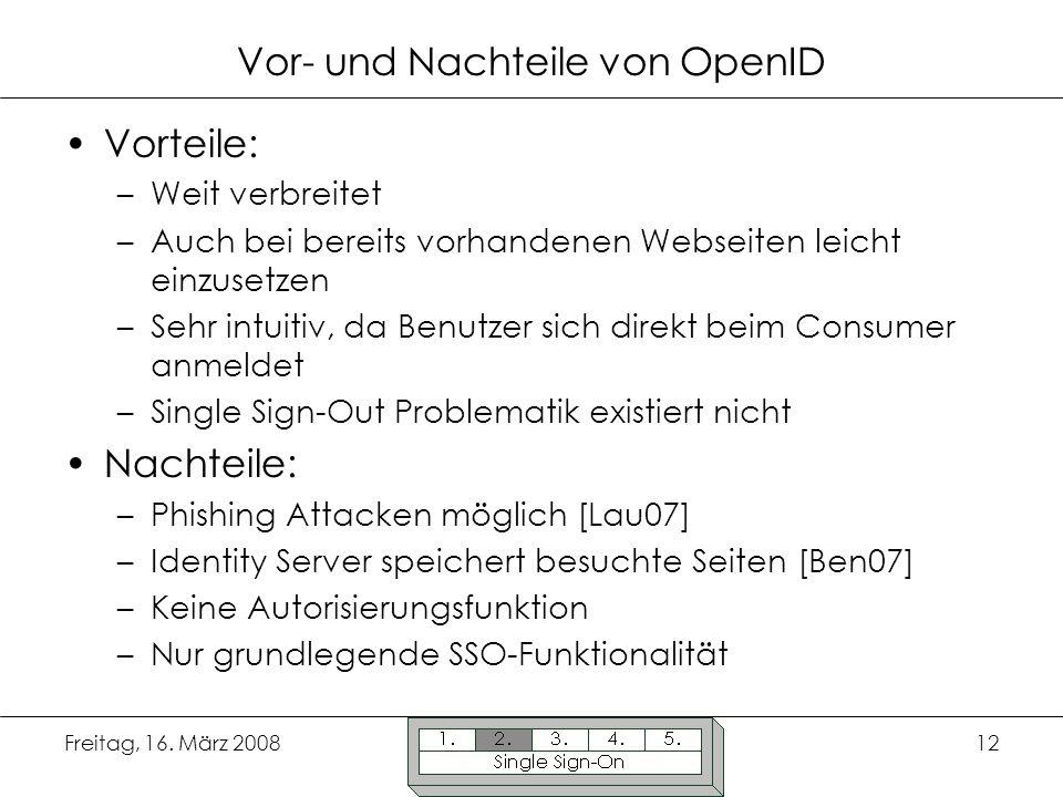 Vor- und Nachteile von OpenID