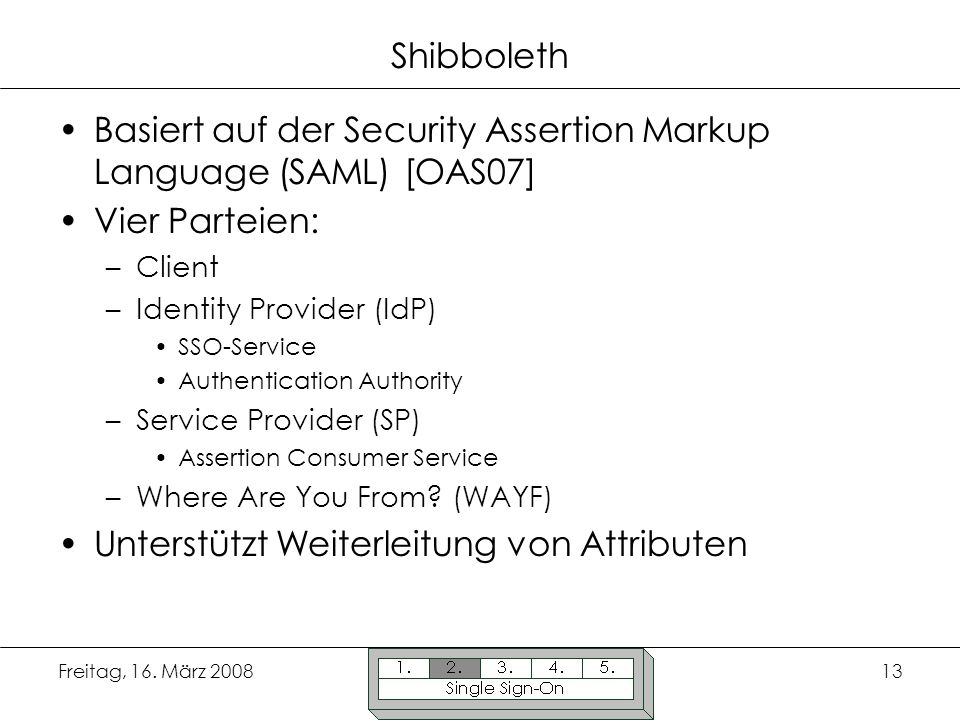 Basiert auf der Security Assertion Markup Language (SAML) [OAS07]