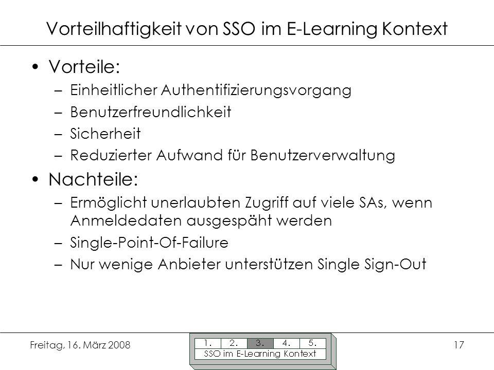 Vorteilhaftigkeit von SSO im E-Learning Kontext