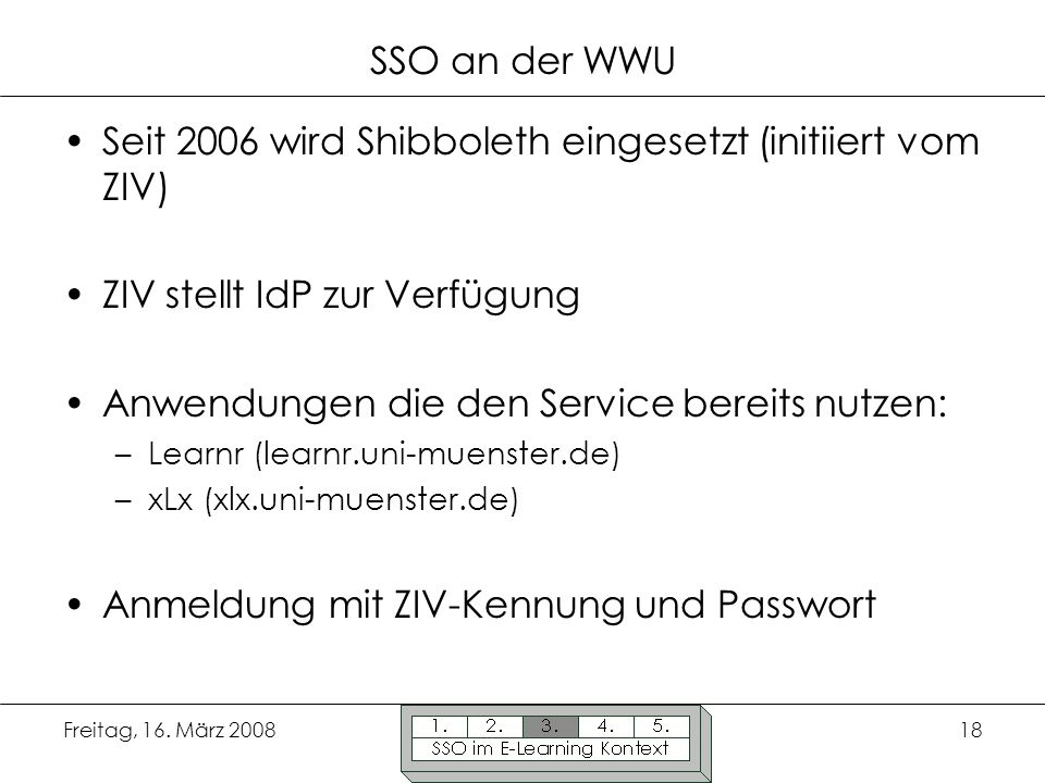 Seit 2006 wird Shibboleth eingesetzt (initiiert vom ZIV)