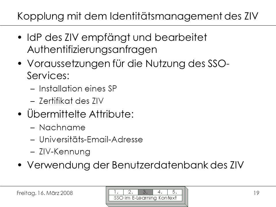 Kopplung mit dem Identitätsmanagement des ZIV