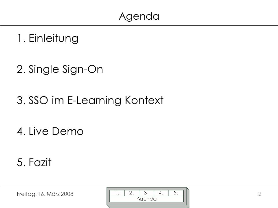 3. SSO im E-Learning Kontext 4. Live Demo 5. Fazit
