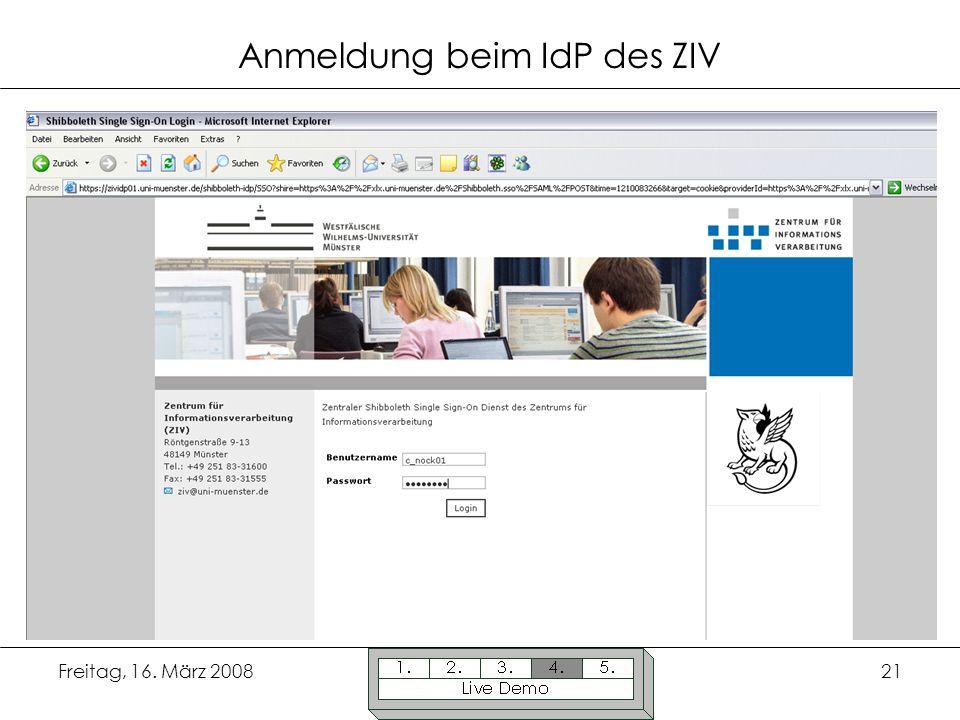 Anmeldung beim IdP des ZIV
