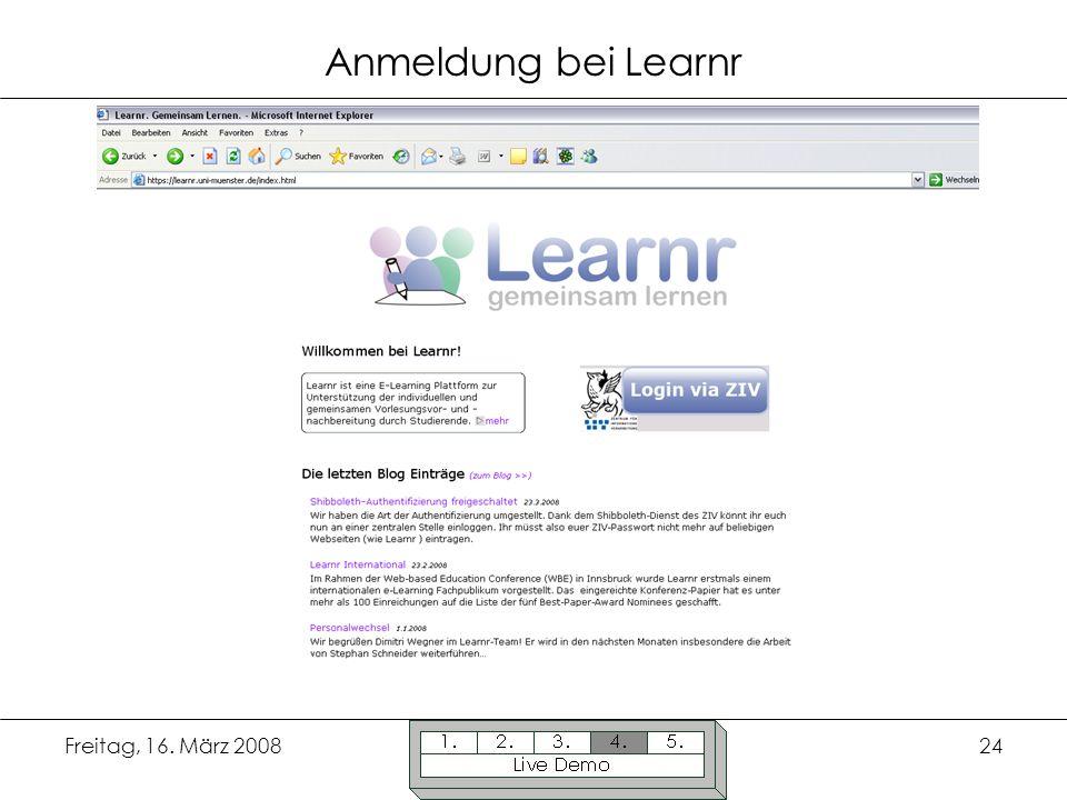 Anmeldung bei Learnr Freitag, 16. März 2008